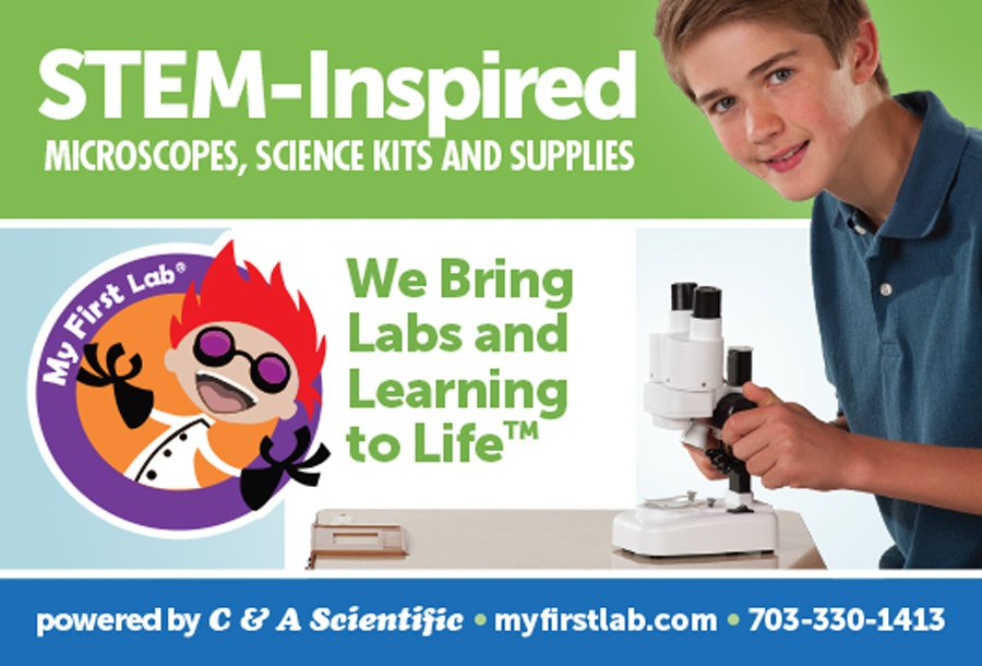 "An ad design for C&A Scientific's hobby brand, My First Lab. The headline reads, ""STEM-Inspired Microscopes, Science Kits and Supplies,"" with the trademarked tagline, ""We Bring Labs and Learning to Life."" The subject of the photo is an adolescent boy using their Duo Scope."