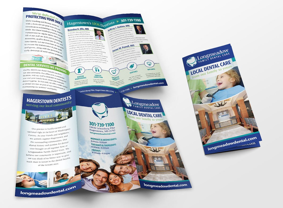 3-panel brochure design for Longmeadow Family Dental Care.