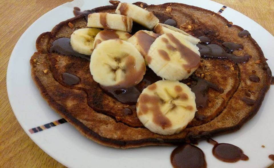 Coffee Pancakes with Chocolate syrup and Banana Recipe