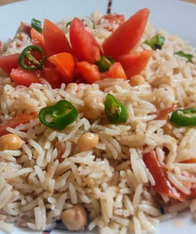 Chickpeas rice recipe with cheese