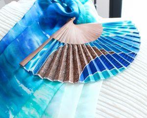 abanico pintado en seda