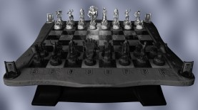3D Chessboard, 3D modelling - Maya - Ambient occlusion, shadow, depth field