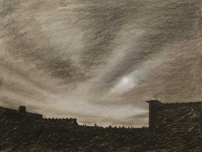 Sky 14 - charcoal and chalk on paper, 29.5x40 cm, 2014