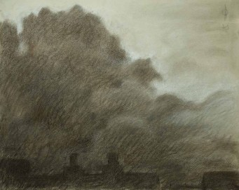 Sky 31 - charcoal and chalk on paper, 36x45.7cm, 2015