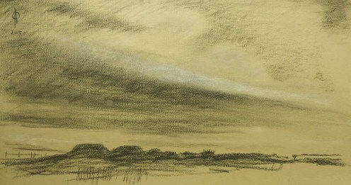 Sky 40 - charcoal and chalk on paper, 26.4x50.3cm, 2015