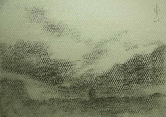 Sky 55 - charcoal and chalk on paper, 21.6x30.5cm, 2015