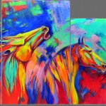 abstract-expressionist-bold-colors-mustangs-triptych-chiriac