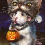 art-paintings-artcards-whimsical-rat-mouse-Halloween-cat-mask