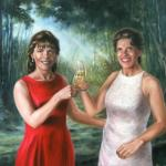Realist oil painting portrait of two women