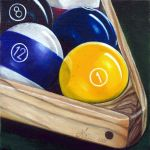 """Ready"" – contemporary realist oil on linen painting of pool balls"