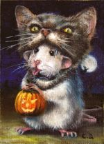 A new original whimsical ACEO fine art card of a rat wearing a cat Halloween mask