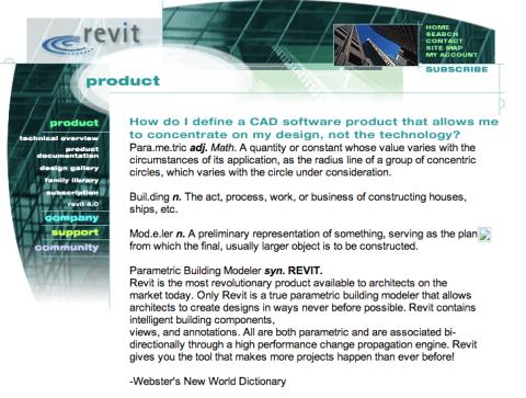 Revit homepage as of 10 May 2000. Via.