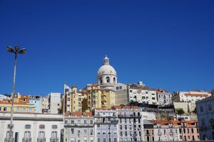 Looking up at the Cathedral from the Port in Lisbon