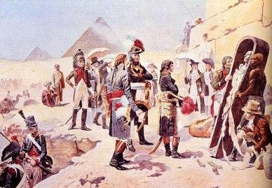 Napoleone accanto ai 'savans', gli esperti incaricati di realizzare la descrizione dell'Egitto, Orange, 1799