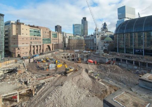 L'area di scavo nella City