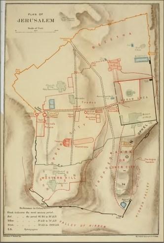 Una mappa di Gerusalemme del 1903 che identifica l'Acra con l'intera collina di sud-est
