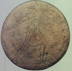 Disco in bronzo, Lanciatore di giavellotto, da Egina, 470 a.C. circa, Berlino, Antikensammlung