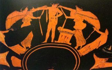 Kylix attica a figure rosse del Pittore di Briseide (part.), Nikai e atleta vittorioso, da Vulci, 480 a.C. circa, Parigi, Louvre. Le Nikai, dee alate della vittoria, recano nastri onorifici a un giovane atleta vittorioso