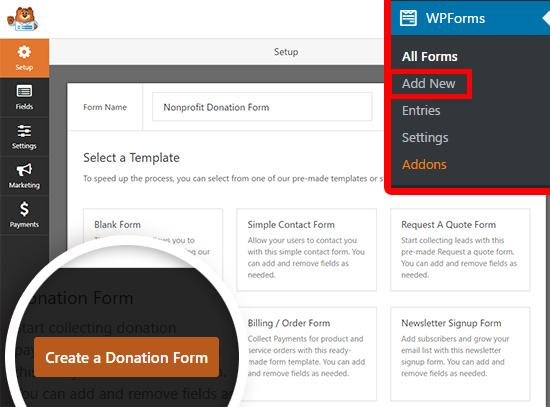 create a new wordpress donation form