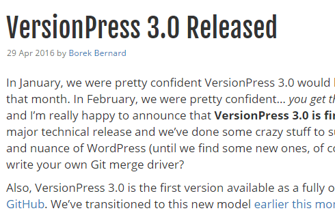 screenshot of version 3.0 release announcement