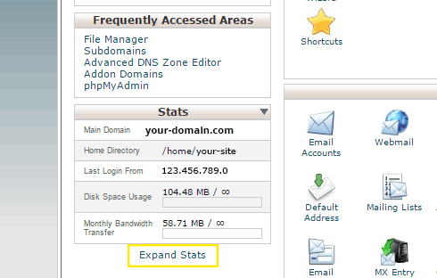 "The ""Expand Stats"" link is highlighted in cPanel after logging in."