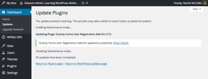 The plugin updated notification