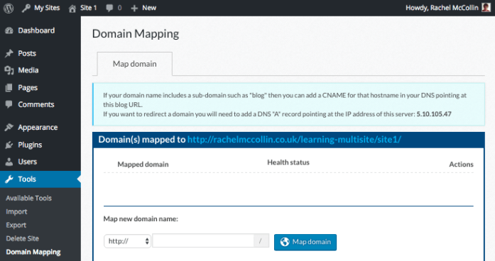 site admin - domain mapping without domains added