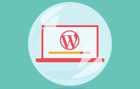 A laptop with WordPress loading inside a bubble so it's not connected to the outside world.