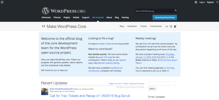 Changes to WordPress' core code is tracked at Make WordPress Core.