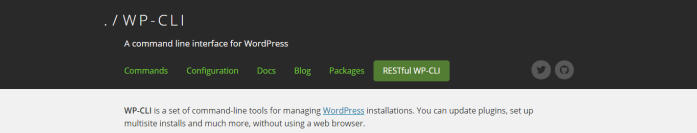 wp-cli website screenshot