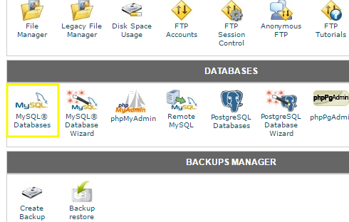 MySQL and phpMyAdmin icons in cPanel