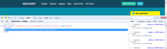 The Firebug developer console in Firefox.