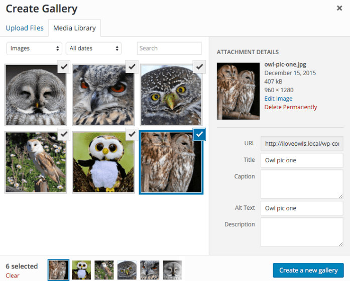 Uploading pictures to a gallery
