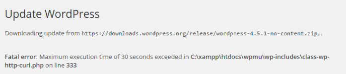 error message stating that the maximum execution time has been exceeded