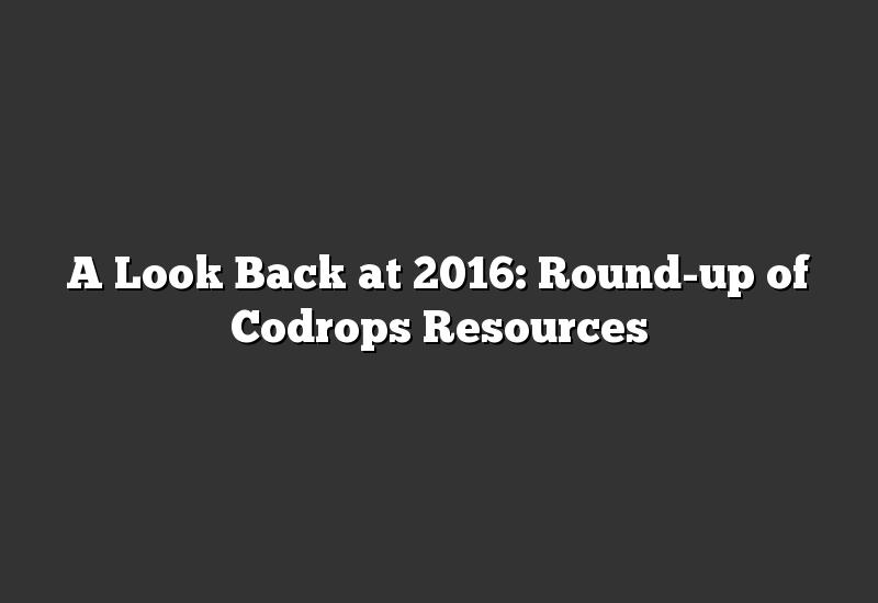 A Look Back at 2016: Round-up of Codrops Resources