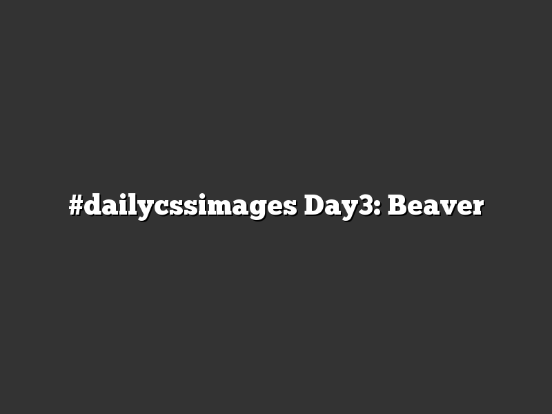 #dailycssimages Day3: Beaver