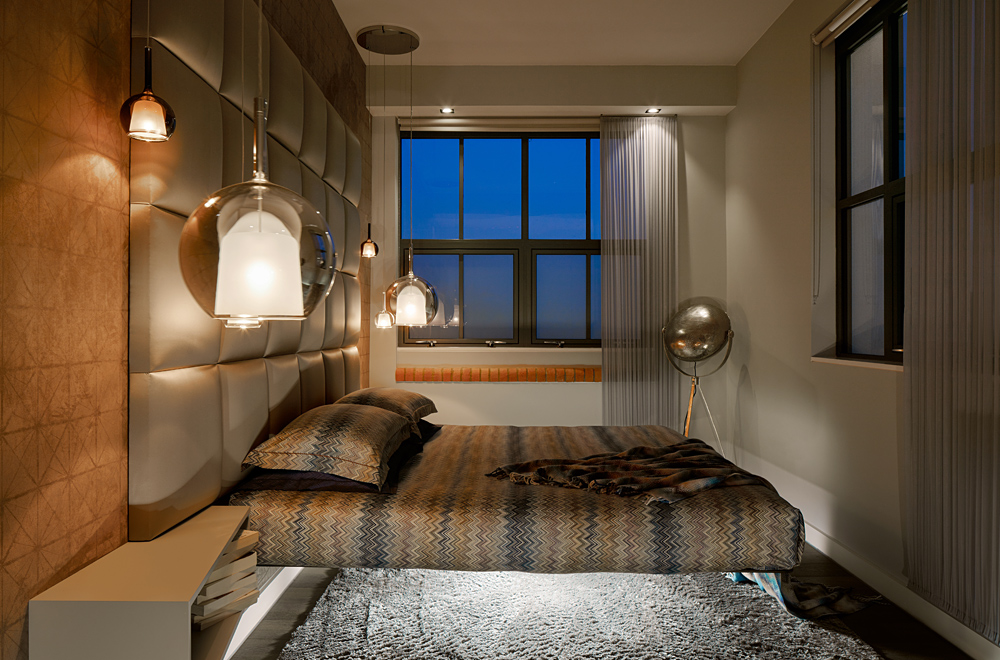 floating bed and mood lighting