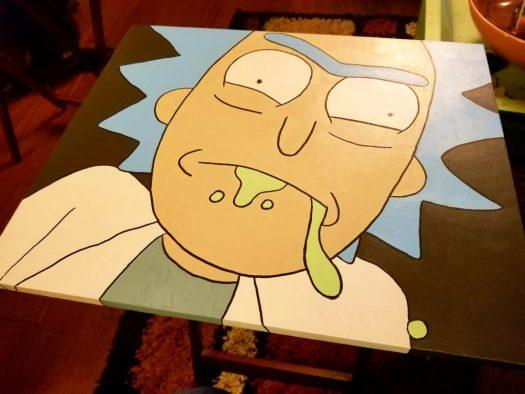 Rick Sanchez painted tv tray