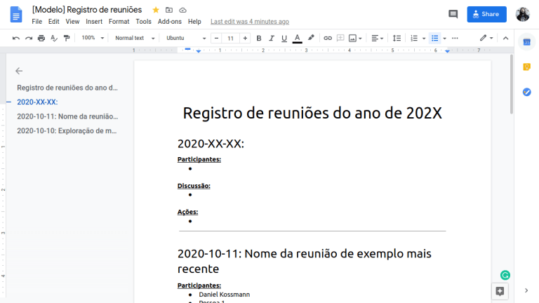Captura de tela do documento de modelo de reuniões no Google Docs