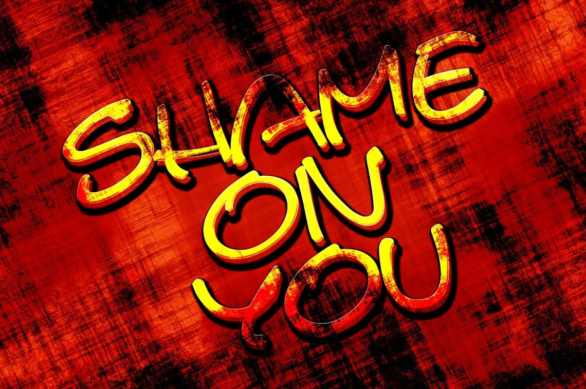 shame on you in letters