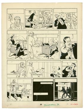 Edgar P. Jacobs - BLAKE ET MORTIMER - Le Mustère de la grande Pyramide - Planche originale n° 15