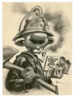 André Franquin - Gaston - Illustration originale, Prudent Pimpon