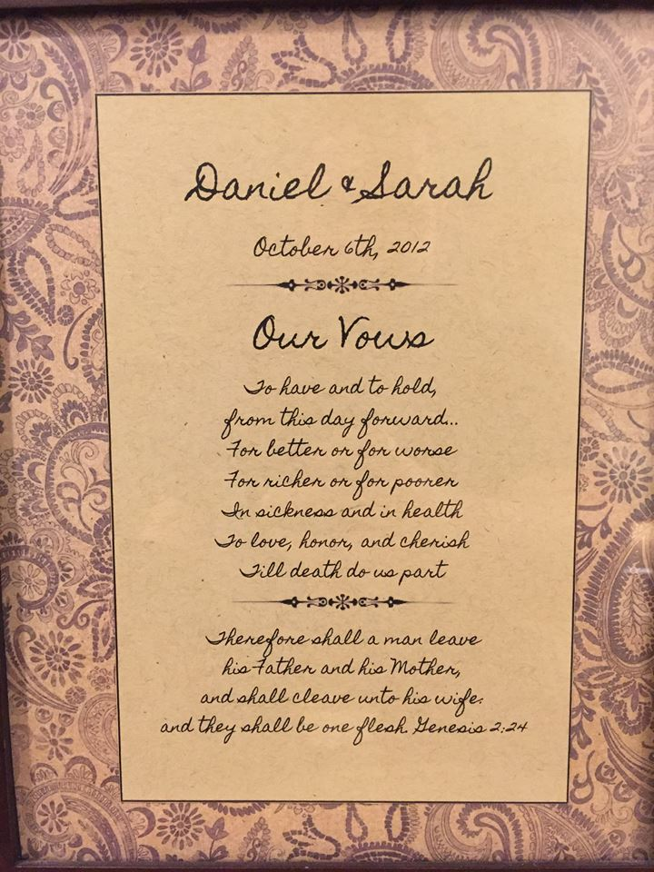 Daniel and Sarah Wedding Vows