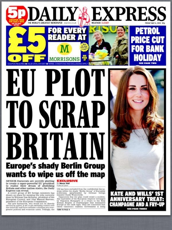 """EU plans to scrap Britain"" - but not to worry, Kate & Wills 1st anniversary! + £5 Morrisons voucher!!"