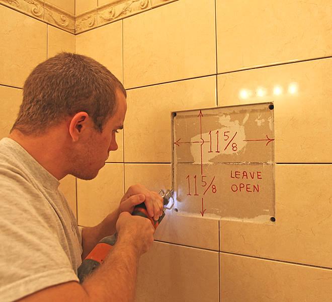 DIY Bathroom Shampoo Soap Shelf Dish Shower Niche Recessed Tile Ceramic Porcelain Corner Caddy