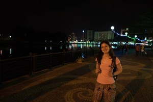 Ilinca at the river in Kuching