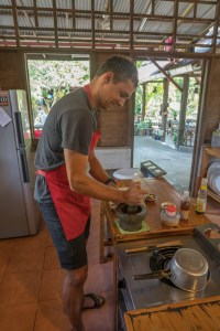 Making Curry Paste at Cooking Class near Chiang Mai