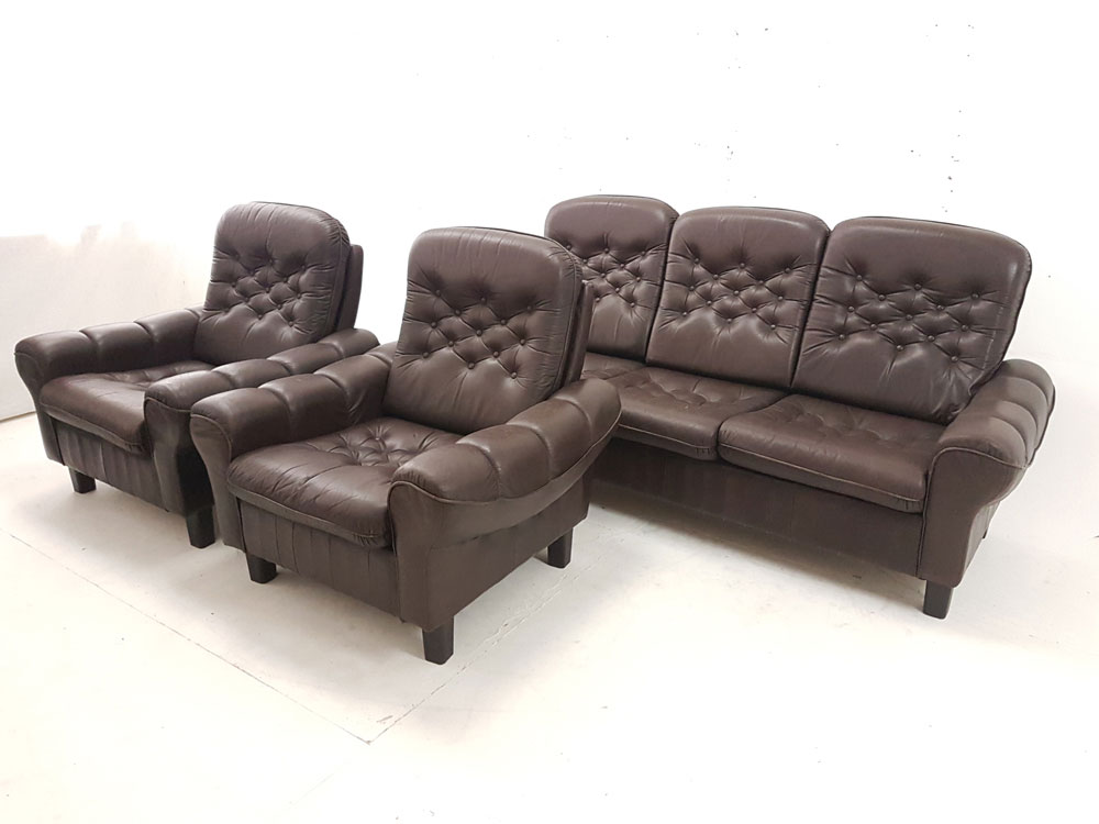 High Back Sofa And 2 Chairs Vintage Leather 1970s Retro