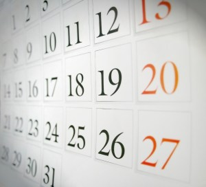 Close up folder of a paper calendar