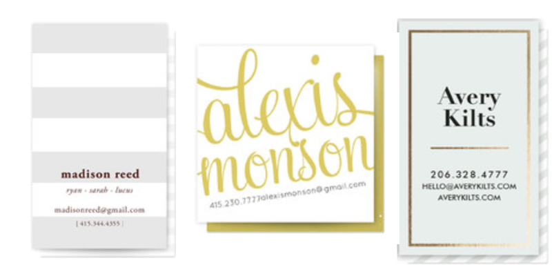 Minted business card favorites